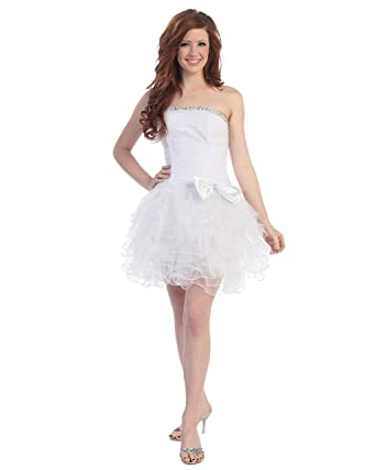 Fine Brand Shop Juniors White Short Prom Dress Stone Set Trim