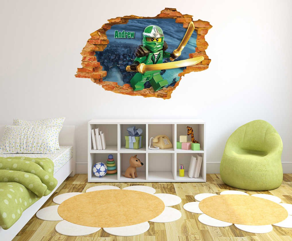 Amazon com customs name ninjago 3d wall effect wall decal for home nursery decoration wide 20x13 height inches home kitchen