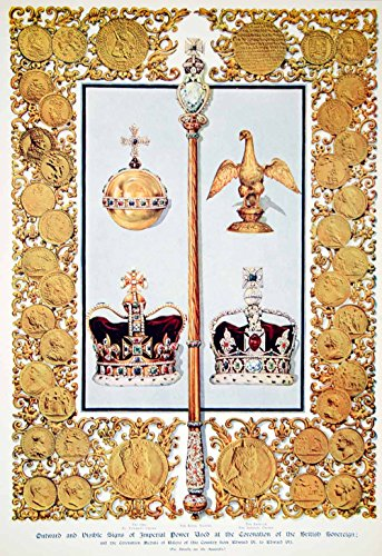 1911 Photolithograph British Crown Jewels Coronation Medals King George V ILN2 - Orig. Photolithograph