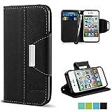 VAKOO PU Leather Flip Wallet Case for iPhone 4/4S - Black