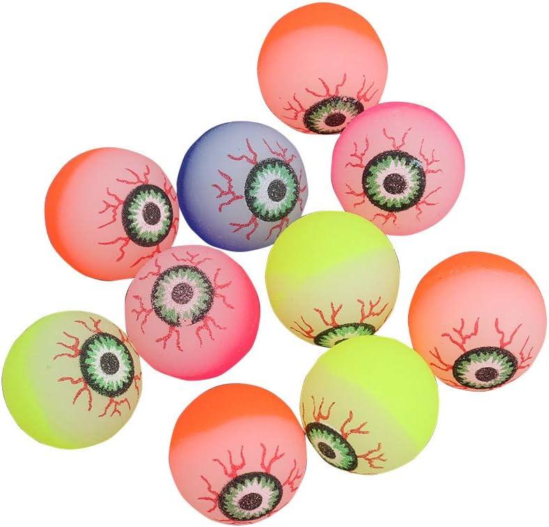 Toyvian 10pcs Halloween Eyeballs, Glow in the Dark, 32mm Scary Bouncy Balls (Color aleatorio)