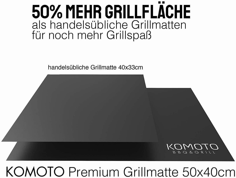 2er Set KOMOTO/® BBQ Grillmatte 50x40 cm I Extra Dick I F/ür Gasgrill und Holzkohle
