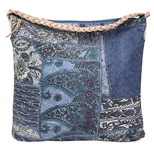 Catalog Classics Banjara Patchwork Slouch Handbag - Recycled Textile Purse -Blue