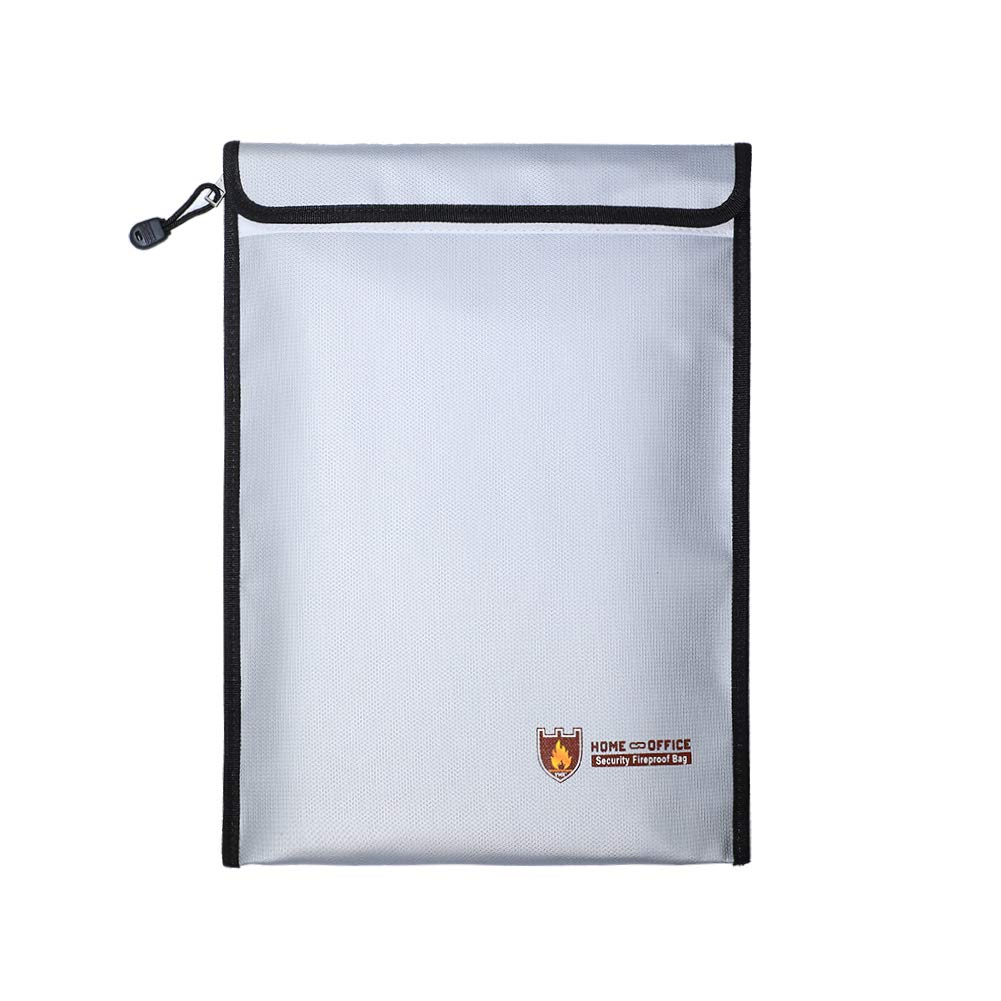 BTG Large Home & Office Security Fireproof Bag, 15''x11'' Safe Storage Envelope Pouch for Mmoney/Valuables/Jewelry and Passports, Fireproof | Water-Resistant | Non-Itchy| Double Layers (11x15 V)
