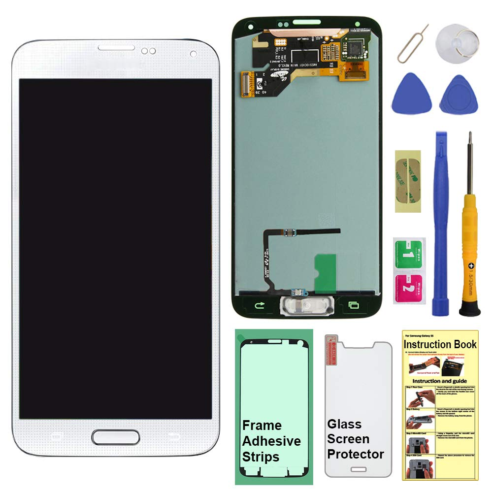 Display Touch Screen (AMOLED) Digitizer Assembly with Home Button for Samsung Galaxy S5 (SV) G900 G900A G900P G900V G900T G900R4 G900F G900H G900M (for Repair Part Replacement) (Shimmery White) by AiYiA (Image #1)