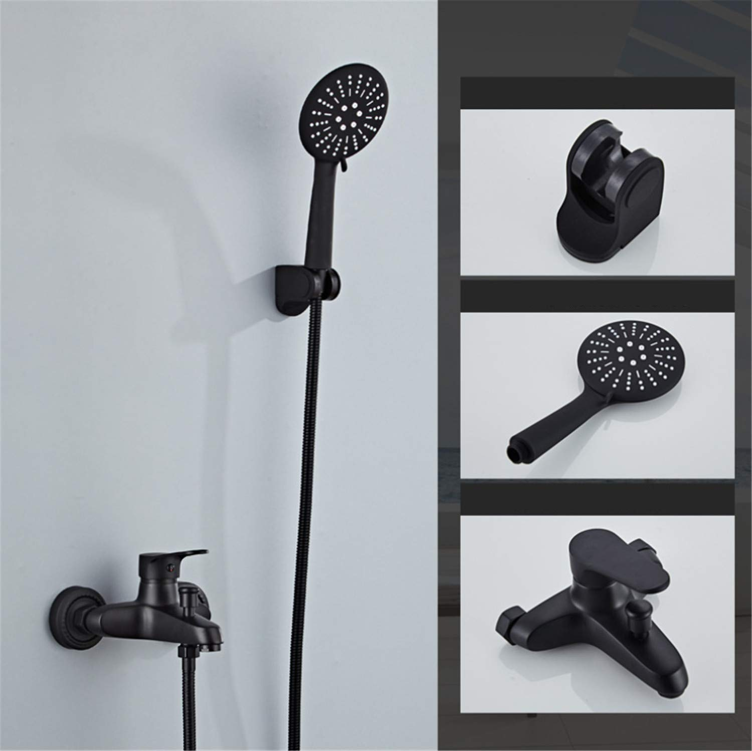 UNIQUE-F Simple Shower Black Multi-Function Top Spray Set Can Be Rotated ABS Thick Portable Hand-Selected Brass Body