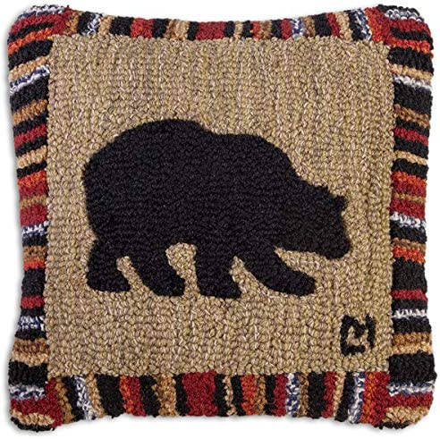 Chandler 4 Corners Artist-Designed Cherry Stripe Bear Hand-Hooked Wool Decorative Throw Pillow 18 x 18