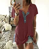 Blouses for Womens, FORUU Solid Button V Neck