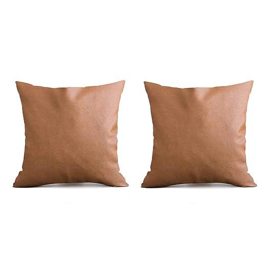 Ucoolcc 2 Fundas de Almohada de Piel sintética Color marrón ...