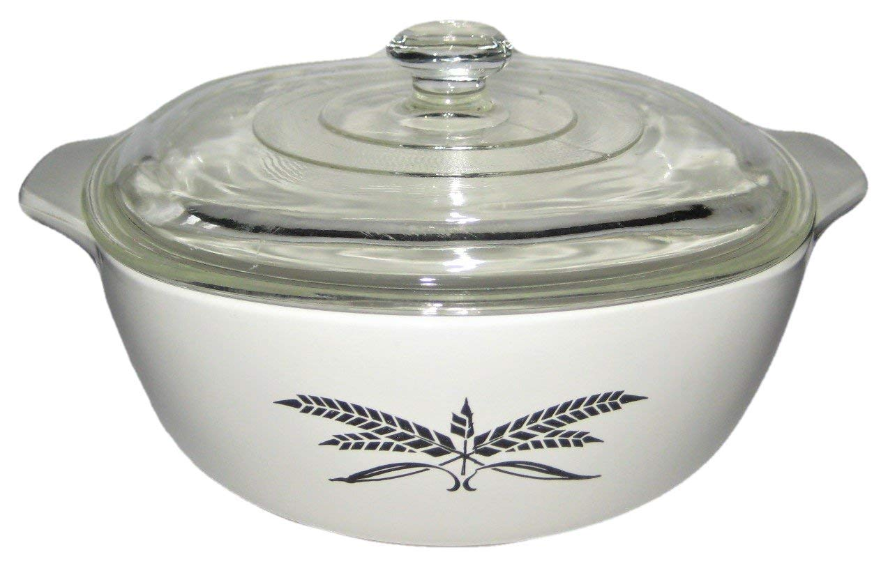 Anchor Hocking White Covered Casserole w/ Black Wheat Pattern, Vintage 1-1/2 Qt 9 Inch Fire-King - Anchor Hocking