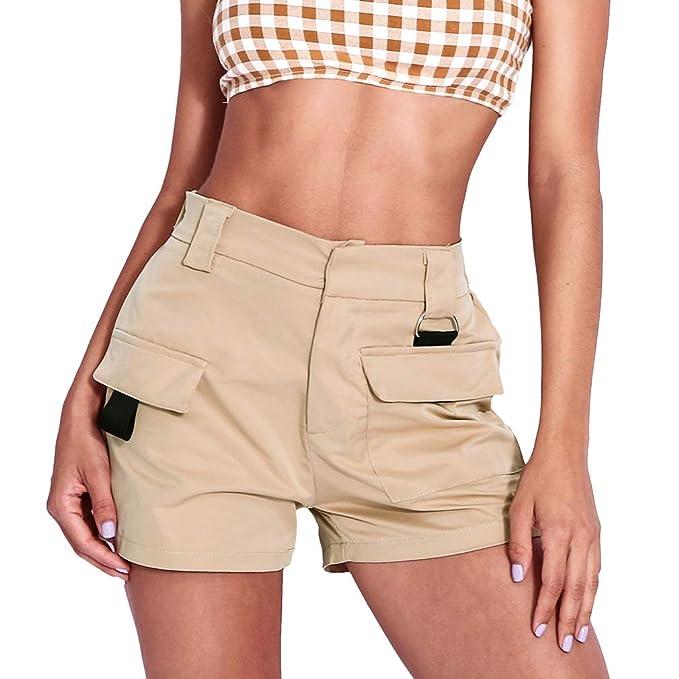 1c04f201f2c9 Yying Pantalones Cortos para Mujer Plisado Elástico Cintura Alta ...