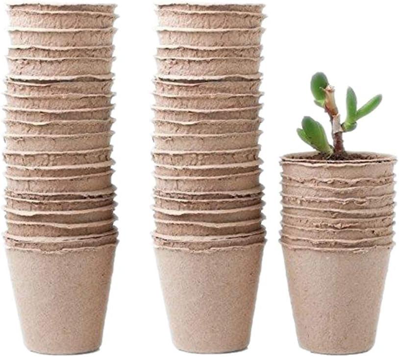 MINSHAM Pots de semences en Fibre biod/égradable pour semis avec /étiquettes en Plastique Blanc 1 x 5 cm 8CM 120PACK