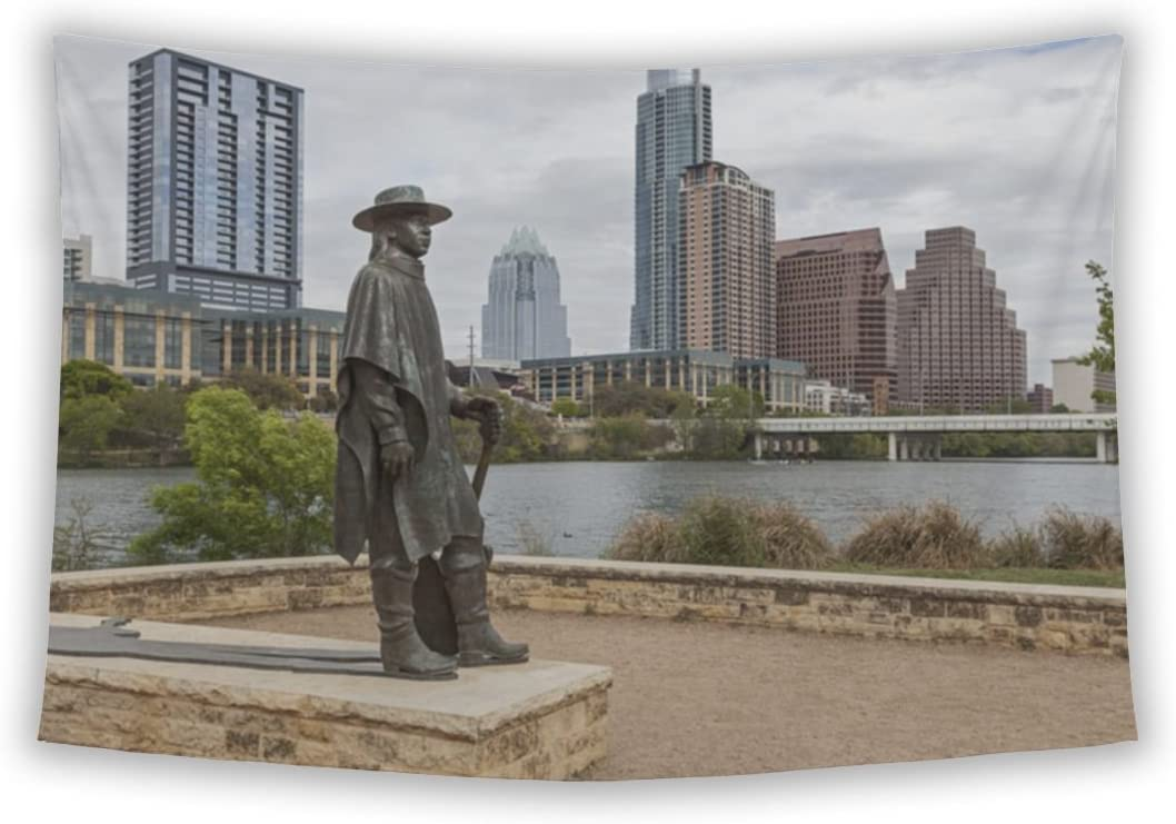 Gear New Wall Tapestry for Bedroom Hanging Art Decor College Dorm Bohemian, Status of Stevie Ray Vaughan and Downtown Austin Texas, 104×88
