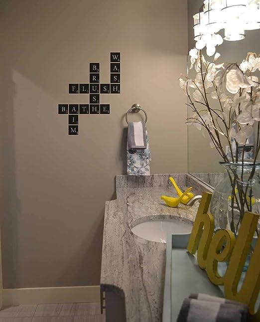 Tiukiu Calcomanía de Vinilo para baño, Texto en inglés Scrabble, para decoración del hogar, para la Pared, para el baño, Personalizable, 30,5 cm de Ancho, Vinilo, 12 Inch In Width: Amazon.es: Hogar