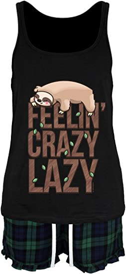Pyjama Set Feelin/' Crazy Lazy Sloth Short Women/'s Black