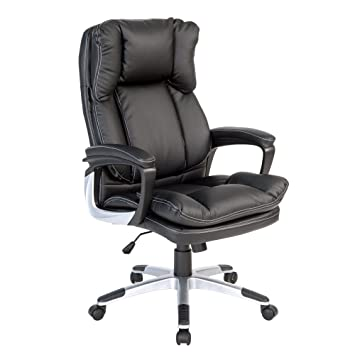 Life Carver 300 Pounds High Back Executive Desk Chair Black PU Leather PC  Computer Office