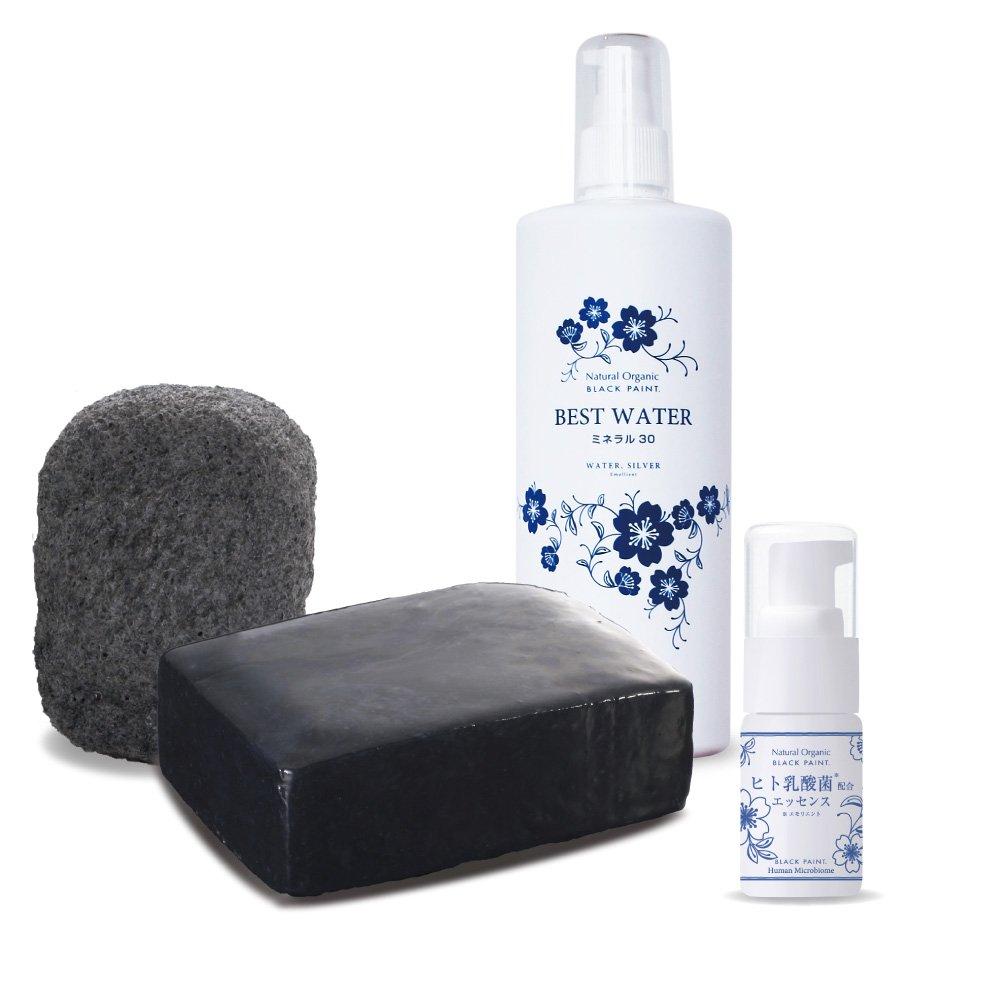 ヒト乳酸菌エッセンス10ml&ブラックペイント120g&ブラックスポンジ&ベストウォーター500ml 洗顔セット B078NRDRX5