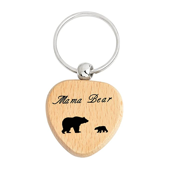 Amazon.com: qihoo Sweet Family Mama Bear madera llavero Día ...