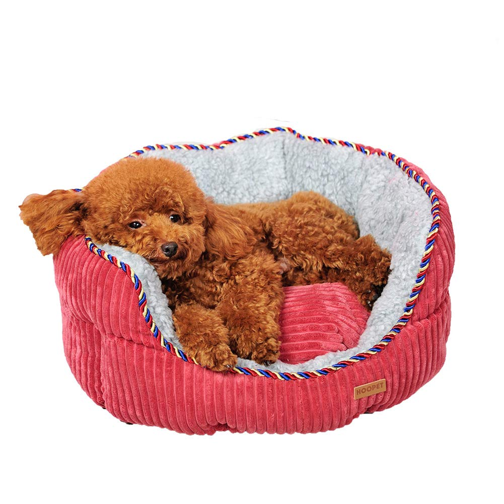 Red Poodle Winter Warm Bed House Washable Small Dog Sleeping Bag (Red)