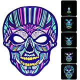 #10: Halloween Mask, Sound Activated Light Up Face Mask Reactive Rave Mask Glowin Halloween Decorations Dance Music Flashing Mask