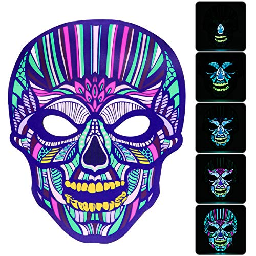 Sound Activated Flashing Mask Light UP Reactive Rave