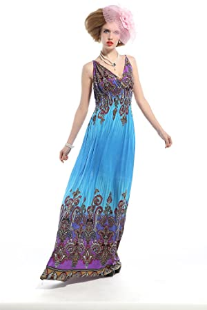 Polarfox Womens Floor Length Free People Dress 4X-Large Blue
