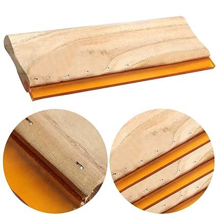 SDYDAY Squeegee de serigrafía de Seda, 3 Piezas de rasqueta de Tinta de Mango de Madera Resistente al Desgaste, rasqueta de Hoja de Pantalla ...