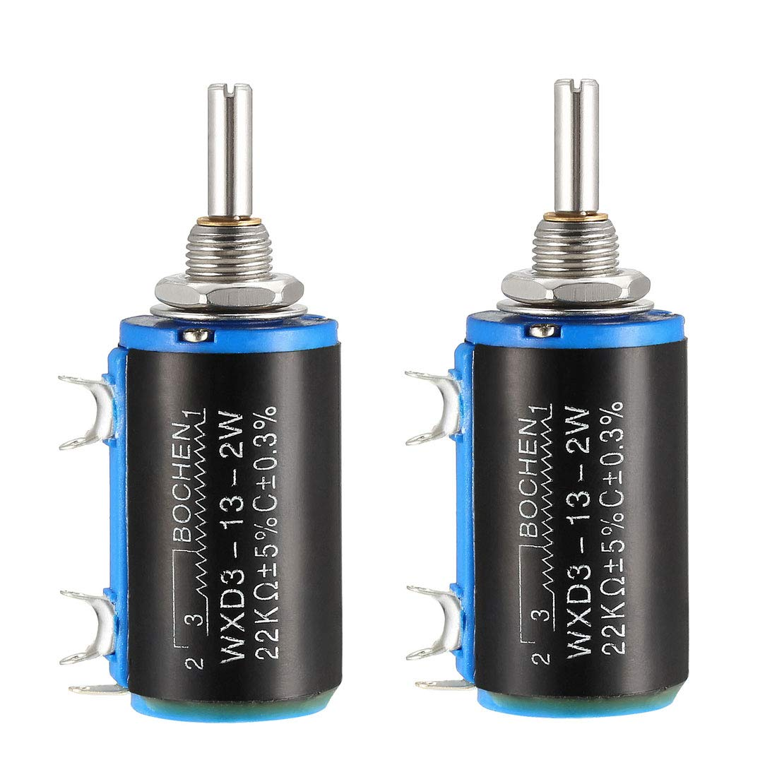 sourcing map 22K Ohm Potentiometer PAots Adjustable Resistors Wire Wound Multi Turn Precision 2pcs