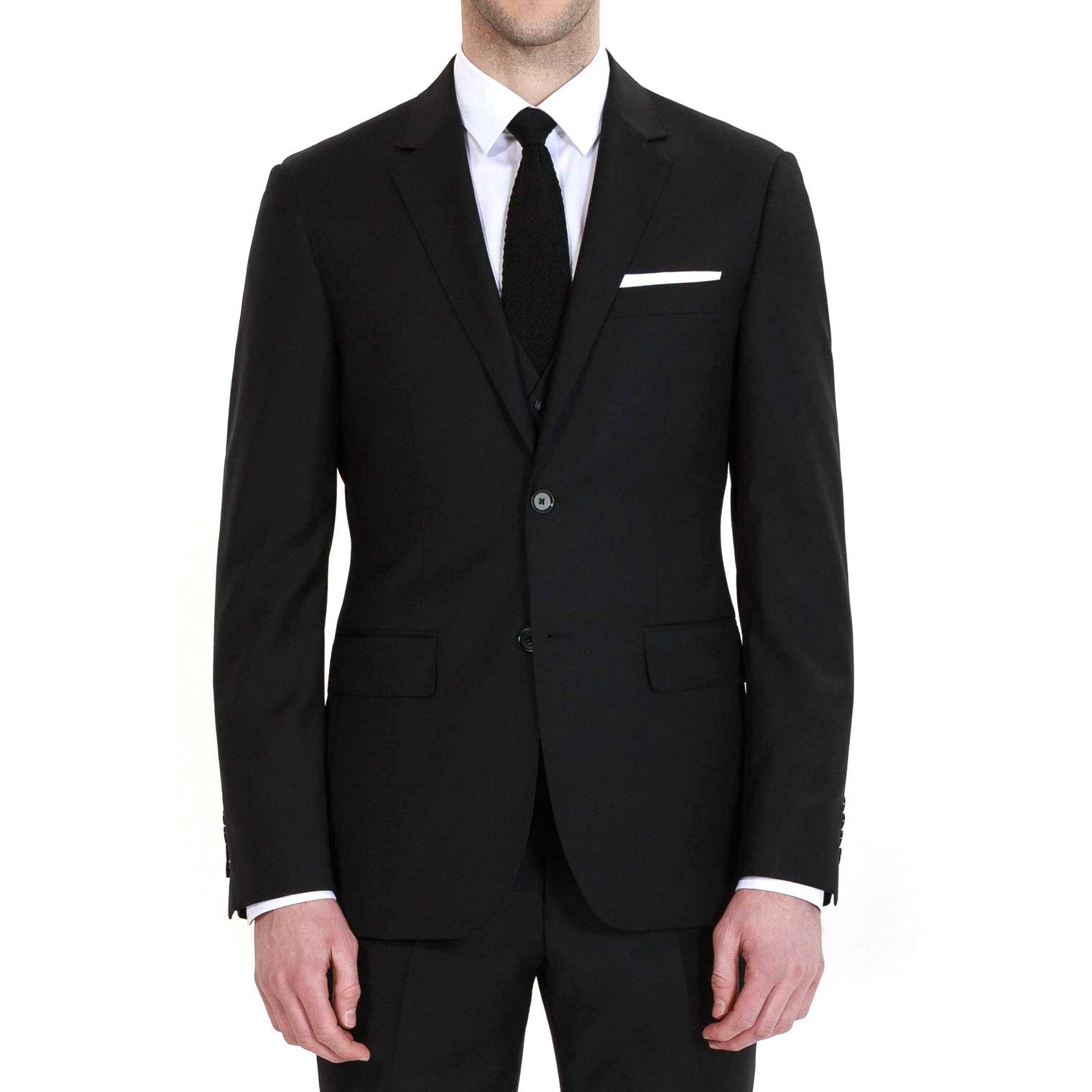 HBDesign Mens 3 piece 2 Button Notch Lapel Slim Trim Fit Formal Suite Black 46R