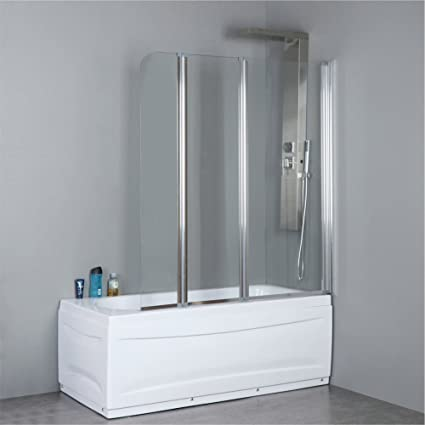 Mfyo 51 X 55 3 Folding Tub Door Satin Aluminium Shower Bath Screen