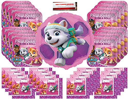 Girl Pups Paw Patrol Sky & Everest Party Supplies Bundle Pack for 16 guests (Bonus 17 Inch Balloon Plus Party Planning Checklist by Mikes Super ()