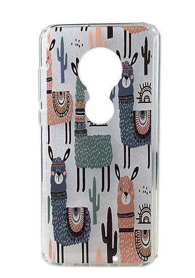 Moto G7 Case, Moto G7 Plus Case, Ftonglogy Cute Animal Cartoon Llama  Pattern Printed Design Transparent Protection Crystal Bumper TPU Body for