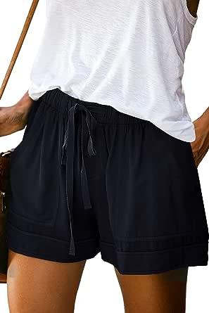 Mosucoirl Mujeres Cordón Casual Pantalones Cortos de Cintura elástica Pantalones Cortos de Color Puro Pantalones cómodos Pantalones Cortos de Verano Ligeros con Bolsillos