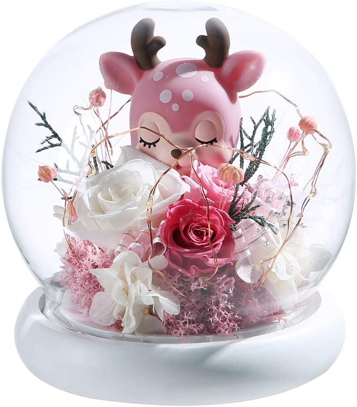 ANLUNOB Eternal Flower Handmade Rose Glass Roses The Unicorn and The Deer Lasts Forever in A Glass Dome -A Symbol of Pure Love Weddings, Anniversaries, Birthday Gifts Christmas Decoration