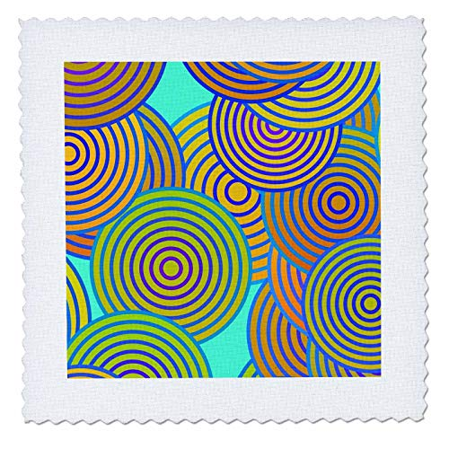 (3dRose Lens Art by Florene - Abstract Designs - Image of Huge Spiral Circles in Green Red and Blue - 22x22 inch Quilt Square (qs_307716_9))