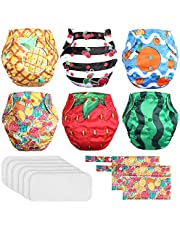 Lictin Pañales Lavables de Tela- 6 Pcs Pañales Lavables de Bambú para Bebé, Pañales Ajustable y Reutilizable para Bebés con 2 Bolsas de Almacenamiento