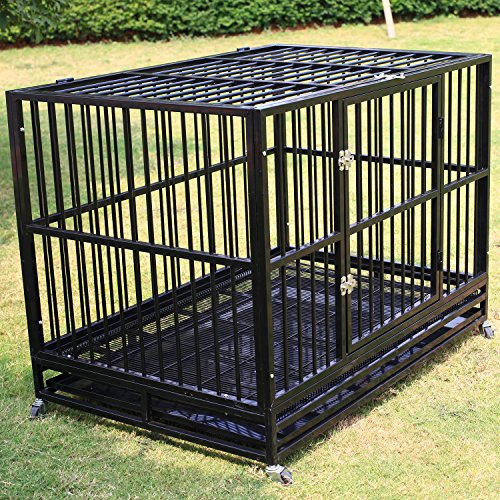 Sliverylake 3XL 48'' Dog Cage Crate Kennel - Heavy Duty Double Door Pet Cage w/ Metal Tray Wheels Exercise Playpen (48'', Black)