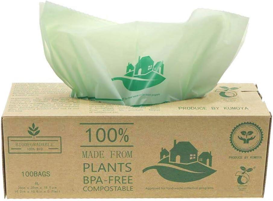 Kumoya 100 luxtons biodegradables trazadores de líneas de – 6litros/10 litros de Alimentos para Cocina Degradable de la Basura trazadores de líneas de EN 13432 - Bolsas de Basura (6L)