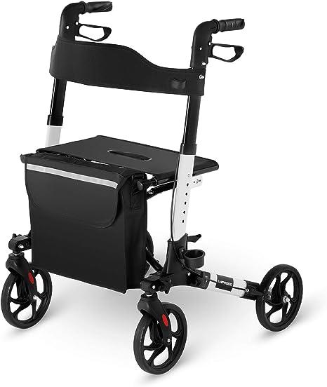 Uniprodo Deambulatore Rollator per Anziani UNI_ROLL_02 DF (Bianco, 136 kg, Alluminio, Borsa per la Spesa, 4 Ruote)