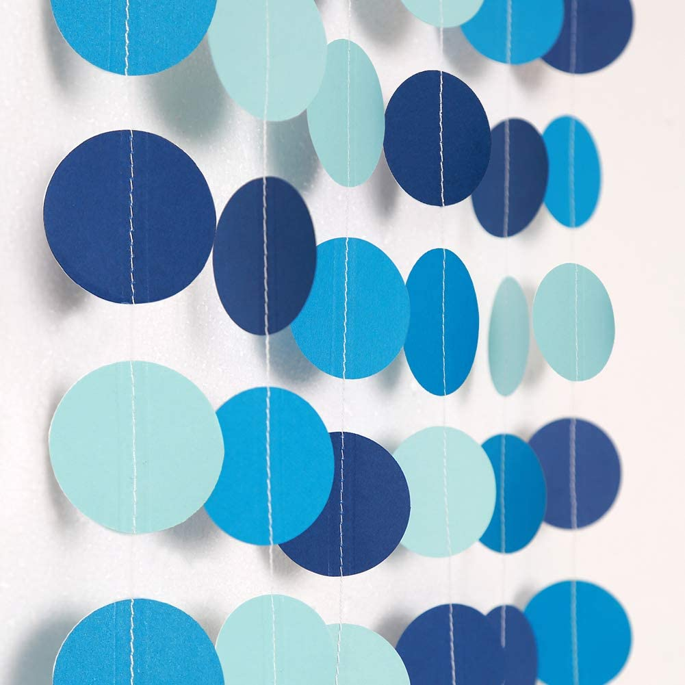 Decor365 Blue Circle Dot Garland Streamer Kit Summer Under The Sea Party Decoration Pool Beach Ocean Bubble Hanging Bunting Banner Backdrop for Birthday/Wedding/Baby Shower/Beach/Bool Party/Kids Room