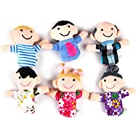 6 Pcs Family Finger Puppets Cloth Doll Baby Kids Educational Hand Toys Gift