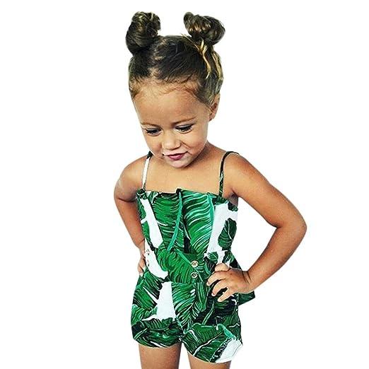 604858f237f Efaster Newborn Infant Baby Girl Sleeveless Leaves Print Sling Jumpsuit  Romper (0-6 Months