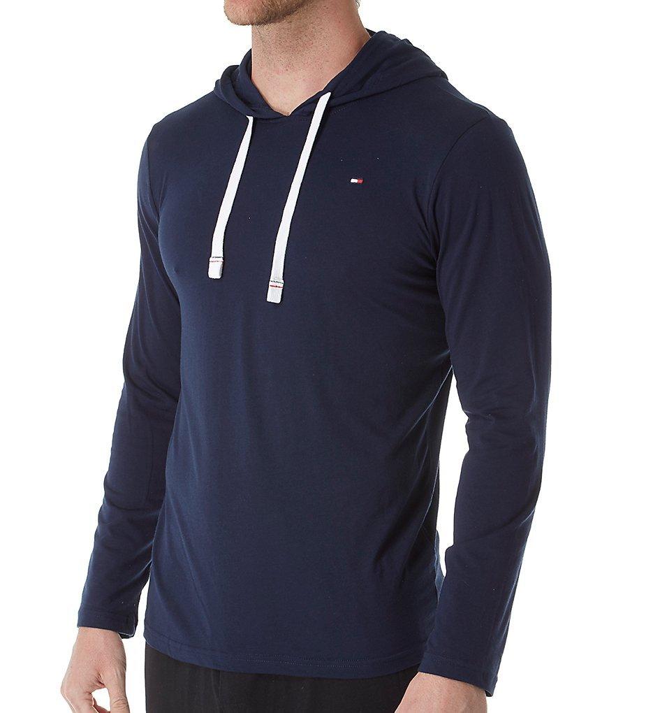 Tommy Hilfiger Men's Cotton Classics Pullover Hoodie, Dark Navy, Large