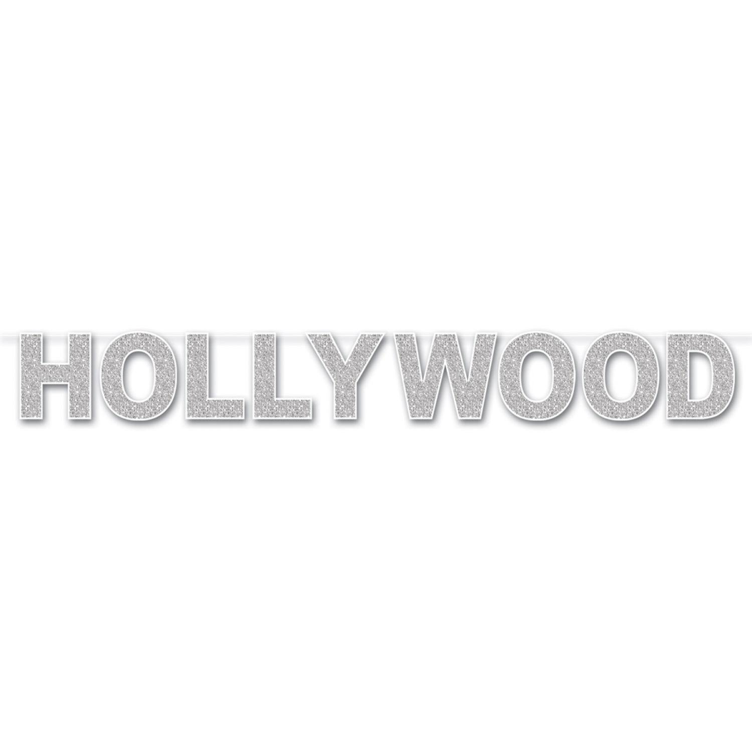 Pack of 12 Silver Glittered Awards Themed ''Hollywood'' Jointed Decorative Streamers 8.5'' x 8'