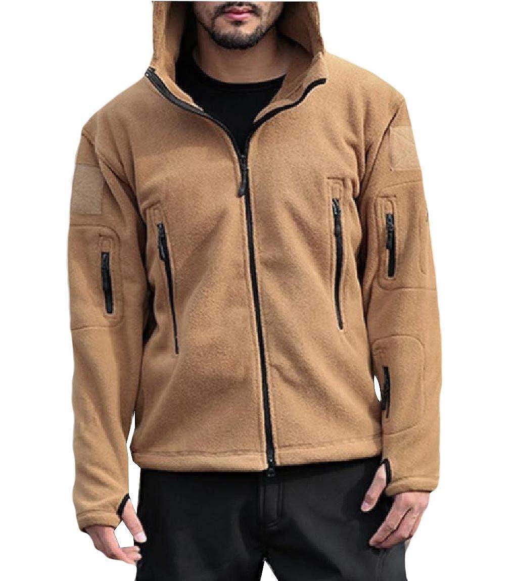 YUNY Men Baggy Warm Active Hooded Fall Fleece Soft Jacket Sweatshirts Khaki XL