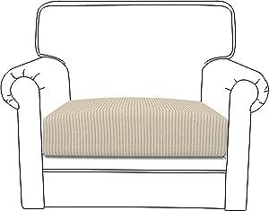 Easy-Going Stretch Cushion Cover Sofa Cushion Furniture Protector Sofa Seat Sofa slipcover Sofa Cover Soft Flexibility with Elastic Bottom(Chair Cushion,Ivory)