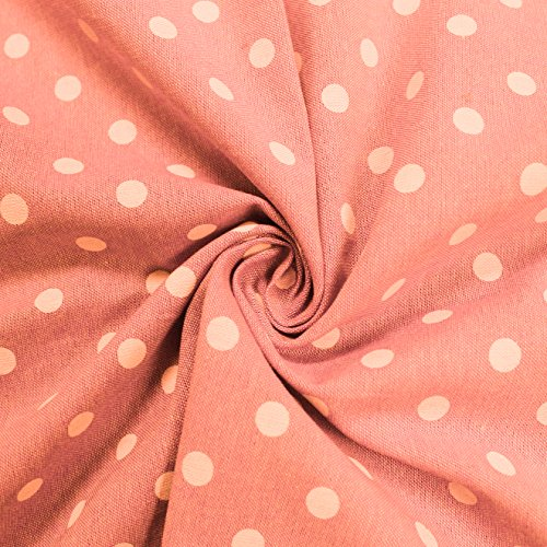 - Peach Polka Dot 58'' Chambray Cotton Fabric by the Yard or Sample Swatch (Sample Swatch)
