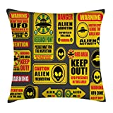Lunarable Outer Space Throw Pillow Cushion Cover, Warning Ufo Signs with Alien Faces Heads Galactic Theme Paranormal Activity Design, Decorative Square Accent Pillow Case, 36 X 36 Inches, Yellow