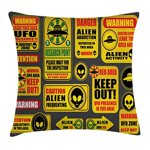 Lunarable Outer Space Throw Pillow Cushion Cover, Warning Ufo Signs with Alien Faces Heads Galactic Theme Paranormal Activity Design, Decorative Square Accent Pillow Case, 28 X 28 Inches, Yellow by Lunarable