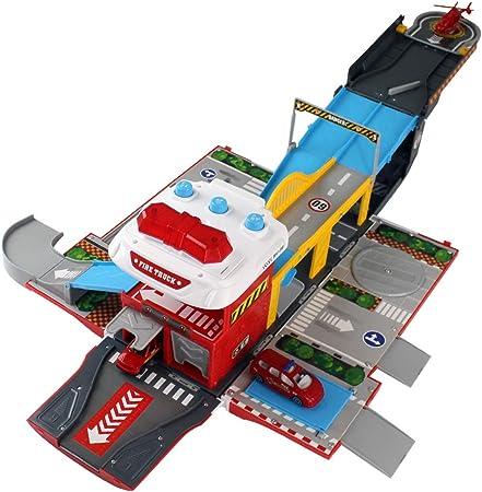 Foxom Garaje Coches Juguete - Parking Infantil de Coches con Musica y Luz - Deformación Aparcamiento con Coche y Helicóptero, Juguete para Niños 3 Años +